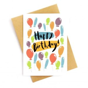 Happy Birthday Balloons Recycled Card