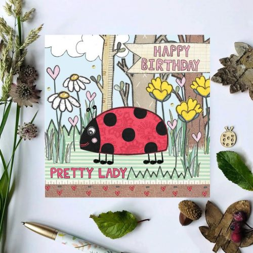 Flossy Teacake Pretty Lady Ladybird Woodland Card