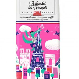 Le Chocolat Des Français – Organic Milk Chocolate With Rice & Puffed Quinoa 80g Bar (41% Cocoa) – Crocodile (Case Of 10)