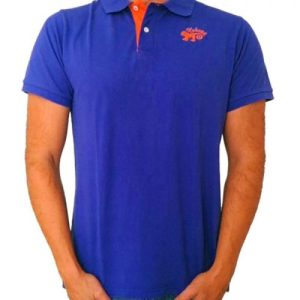 Monkey polo shirt Royal Blue & Orange - polo azul naranja store hombre joven algodon organico logo bordado surf skate snow 500x500