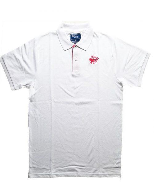 Monkey polo shirt White & Red - polo blanco kahuna store hombre joven algodon organico logo bordado surf skate snow 1 500x635