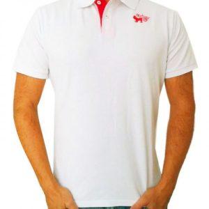 Monkey polo shirt White & Red