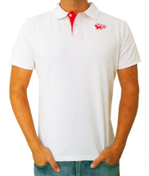 Monkey polo shirt White & Red - polo blanco kahuna store hombre joven algodon organico logo bordado surf skate snow style 1 500x590