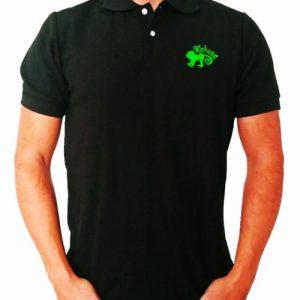 Monkey polo shirt Black - polo negro kahuna store hombre joven algodon organico logo bordado surf skate snow style 500x500