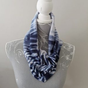 Hand dyed navy and white cotton jersey infinity scarf