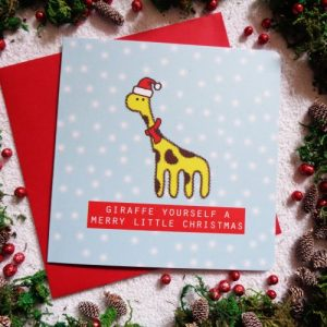 Greetings Card pack of 6 Christmas Giraffe - xmas giraffe 500x500
