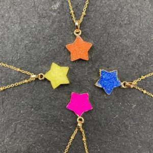 Colourful druzy Star pendant necklaces with beaded gold chain - Assorted Colours (Limited Edition) - yaa yaa london beaded star necklaces 500x500
