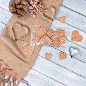 Hearts - Cork deco articles, 16 pcs - 01 hearts cork decoration herz kork deko sughero en liege corchos pepmelon 500x500