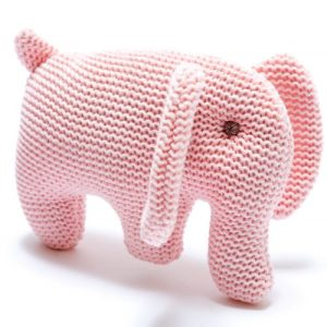 Knitted Pink Organic Cotton Elephant Baby Rattle