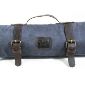 Knife Roll-Up Bag – top grain leather and waxed canvas
