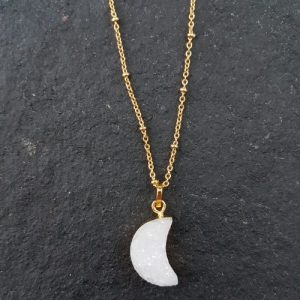 White Moon Semi-precious Natural Druzy Moon Pendant Gold Necklace (Limited Edition) - 20201125 154251 500x500
