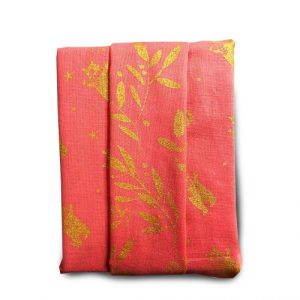 Ted's scarf (coral) – Reversible Gift Wrap (32x32cm)