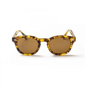 Hempton stripe frame and green lens sunglasses