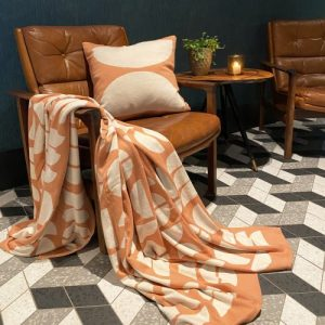 Ella Plaid 100% Brushed Cotton Blanket - Ella peach blanket pillow leatherchair square 1 500x500