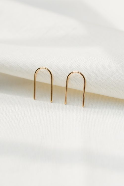 9ct recycled gold small arch ear pins - Gold small arch pins 3 500x749