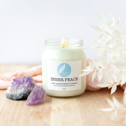 Inner Peace soy aromatherapy candle with ylang ylang and bergamot essential oils. 100% natural, vegan, cruelty free, zero waste, gifts.