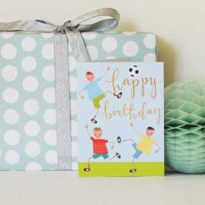 KTW24 mini football happy birthday card - KTW24B 500x500