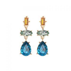 Triple Gem Drop Earrings in Turquoise & Aqua - LE578T 500x500