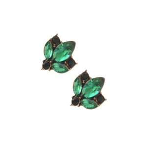 Clear Crystal Cluster Earrings in Emerald Green - LTE33E 500x500