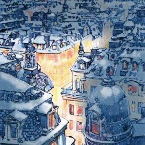 Christmas night in Paris extra large Christmas card – A4 size