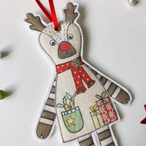 Flossy Teacake Fabric hanging Rudolph Reindeer Christmas decoration - Rudolph Reindeer 500x500