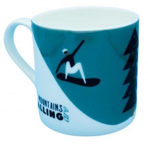 The Mountains are Calling Snowboarding Large Bone China Mug