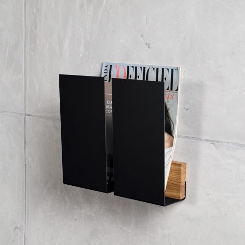 black magazine wall holder