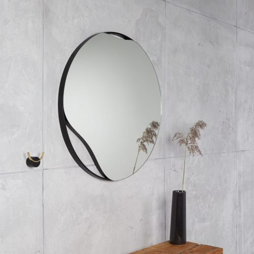 Black frame round wall mirror