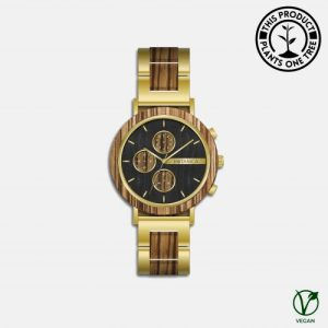 Botanica Watches | Goldthorn | Zebrano and Sandalwood Face with Gold Steel and Zebrano Strap