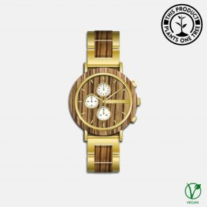 Botanica Watches | Hazel | Zebrano and Sandalwood Face with Gold Steel and Zebrano Strap