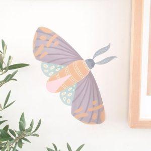 Batik Moth Illustration Wall Sticker Decal
