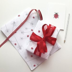 Dandelion and lady bird wrapping paper