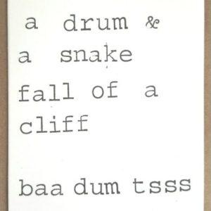 A sheep a drum & a snake fall of a cliff baa dum tsss Card – Pack of 10