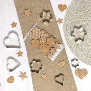 Flowers, Hearts, Stars - Cork decorations, deco articles, 18 pcs - flowers hearts stars deco articles cork 500x500