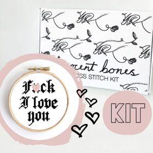 Valentines Modern Cross Stitch Kit – F*ck I Love You Cross Stitch Pattern – Learn To Cross Stitch – Cross Stitch For Beginners – Mature Gift