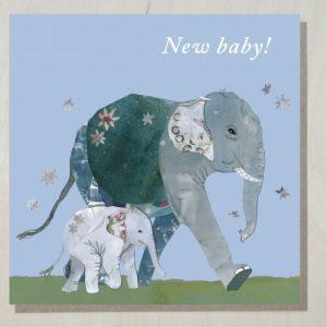 New baby card (elephants) (bundle of 6)