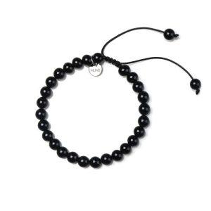 Wax cord bracelet made of 6mm Onyx beads