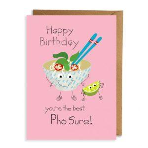Best Pho Sure!! Card (pack of 6) - 12 10068phosoopbirthdaycard 500x500