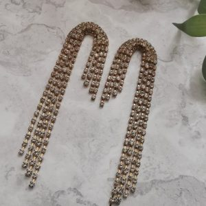 Gold Tone Curved Cubic Zirconia Drop Earrings - 19 500x500