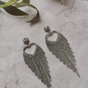 Silver Tone Heart Cubic Zirconia Earrings - 21 500x500