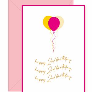 Happy 2nd Birthday Balloon Card ~ Neon Pink