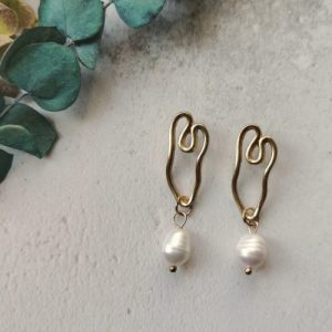 Gold Tone Modern Shape Mother of Pearl Stone Earrings - 750x1000 500x500