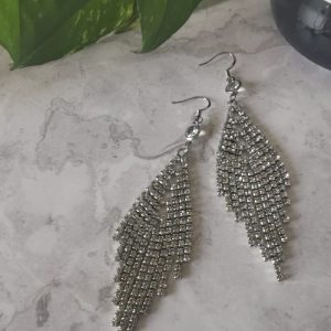 Silver Tone Architectural Cubic Zirconia Drop Earrings - 9 500x500