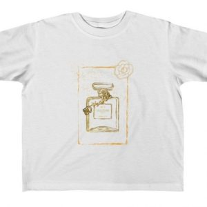 """White Graphic Toddler Size """"Couture"""" Perfume Bottle Tee"""