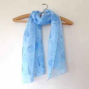 Blue & navy spot hand painted silk scarf