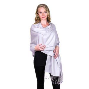 Light Grey Pashmina Stole 70% Cashmere 30% Silk