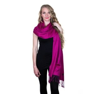 Dark Pink Pashmina Stole 70% Cashmere 30% Silk
