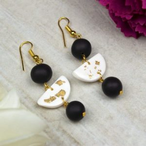 White with Gold Flake and Black Bead Gold Plated Dangle and Drop Polymer Clay Earrings