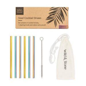 Steel Cocktail Drinking Straws - Rainbow - 6 Pack - July20208 600x 500x500