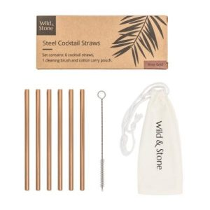 Steel Cocktail Drinking Straws – Rose Gold – 6 Pack